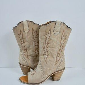 Laredo Open Toe Cowboy Cowgirl Boots Chunky Heels